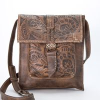 Leaders in Leather Vaquetta Tooled Cross Body Handbag