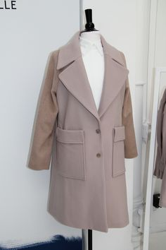 Wool camel coat with dual fabric by Coralie Marabelle x La Redoute
