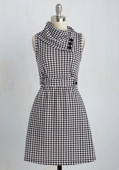Coach Tour Dress in Houndstooth. Sometimes a dress is so magical, it makes you long for somewhere special and new to wear it. #white #modcloth
