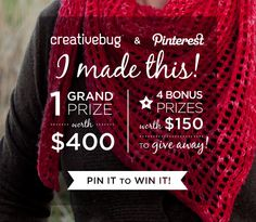 Creativebug + Pinterest: 'I Made This' Repin-to-Win Contest. @creativebug #imadethis #creativebug