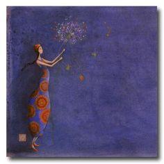 CARTES D'ART  BOISSONNARD Gaëlle  CARTES SIMPLES 14x14cm  BOISSONNARD Le bouquet de violettes - e-mages - La carterie d art