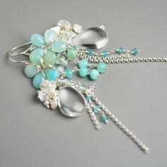 Opal, sterling silver, quartz, pearls, topaz. Gorgeous. #earrings #jewelry #gemstones $178