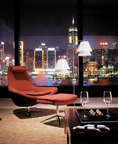 Presidential Suite - Living Room    Night time view of Hong Kong Island from the Presidential Suite living room.
