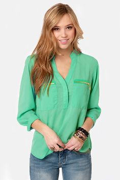 My kind of blouse! Mint green love!