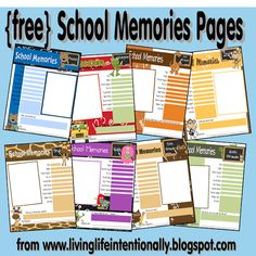 FREE!! School Memories MEGA Pack! These are super cute and great for keeping track of important things that happen each school year! Great to start back to school