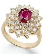 14k Gold Ring, Ruby (1-1/2 ct. t.w.) and Diamond (1-3/4 ct. t.w.) Flower Ring