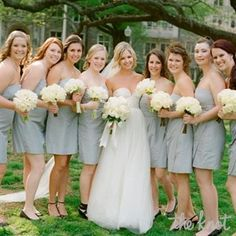love the idea of the bridesmaids wearing short skinny dresses but i would have a different color