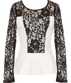 Italian Lace Top: Features a contrast floral lace bib and sleeves, illusion sweetheart neckline, gorgeous white base layer, and a slightly flared hem to finish.