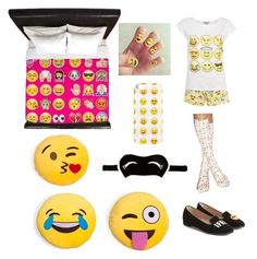 """""""Emoji Bedroom And Pjs"""" by brianawest ❤ liked on Polyvore featuring Living Royal, Chiara Ferragni, River Island and bedroom"""