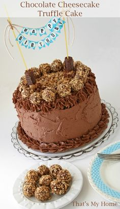Chocolate Cheesecake Truffle Cake - Chocolate Cake topped with Waffeletten cookies, Cake has a chocolate chip cheesecake middle and is frosted with a creamy chocolate frosting, Then it is topped with cheesecake truffles rolled in Waffeletten cookies. #bahlsen