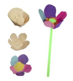Easy Spring Flowers - using an egg carton, pipe cleaners, and paints or markers the possibilites are endless for these colorful creations.