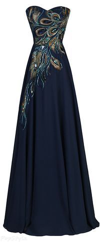 LOVE Prom Dresses Grace Karin Long Strapless A-line Embroidered Gown Evening Dresses, Prom Dresses, Formal Dresses, Peacock Bridesmaid Dresses, Bridesmaid Ideas, Ladies Dresses, Wedding Dresses, Bridesmaids, Strapless Dress