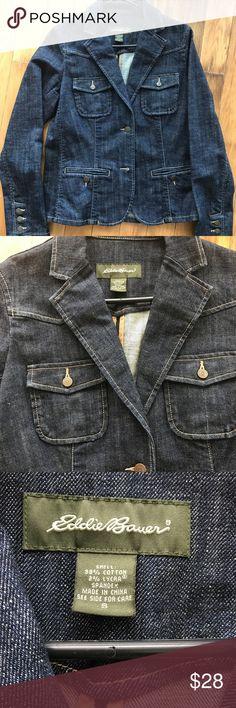 Eddie Bauer jean jacket Denim Eddie Bauer jean jacket. Very stylish size small Eddie Bauer Jackets & Coats Jean Jackets