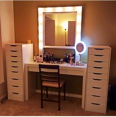 Are you looking for an new way to store your makeup?  -then go out to ikea and get these amazing set ups 1.)ikea 9 drawer 2.) ikea dressing table