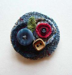 Harris Tweed flower brooch photo by fabric_mountain | Photobucket