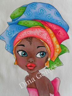 T T African girl. Black Girl Art, Black Women Art, Black Art, Art Girl, Fabric Painting, Watercolor Paintings, Afrique Art, African Art Paintings, Afro Art