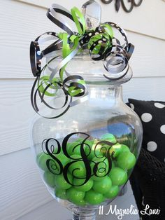 apothecary jar monogram made with the Silhouette (fun gift idea or party decor) #Vinyl
