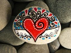 Heart painted stone Art painted rock