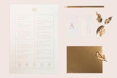IDENTITYThis is the personal identity of Kata Farkas, including a logo, business cards and resume. The stationery is printed in a set of gold and gradient colors with light pink and blue. Resume Layout, Brochure Layout, Resume Cv, Resume Design, Identity Design, Sample Resume, Great Resumes, Cv Cover Letter, Personal Identity