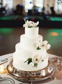 #Wedding Cake #Reception #White #Flowers