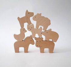 Eco wooden toy set Baby farm animal set Baby shower gifts
