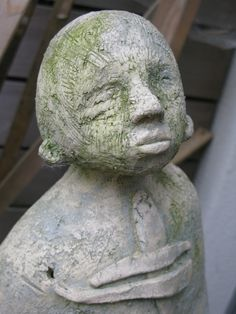 asking a little Garden Sculpture, Ceramics, Statue, Outdoor Decor, Home Decor, Art, Ceramica, Art Background, Pottery