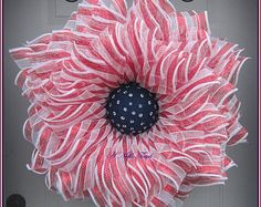 Deco Mesh Flower Wreath, Summer Wreath, Spring Wreath, Front Door Wreath, with Faux Green and Pink Gems in the Center by A Noble Touch Patriotic Wreath, Patriotic Decorations, 4th Of July Wreath, Patriotic Crafts, Holiday Decorations, Holiday Ideas, Wreath Crafts, Diy Wreath, Wreath Ideas