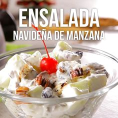 Ensalada Navideña de Manzana con Piña y Nuez - Russian диета - мода - украшение - рецепты Tasty Videos, Food Videos, Dessert Salads, Dessert Recipes, Mexican Food Recipes, Sweet Recipes, Cooking Recipes, Oven Cooking, Cooking Beef