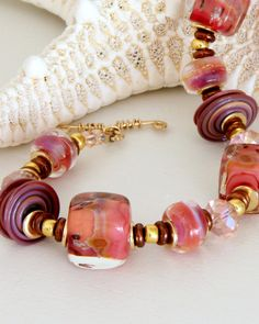Rose Pink Beaded Bracelet Lampwork Jewelry by wildwomanbeads, $75.00