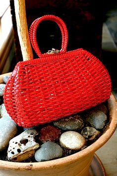 1950s Red Woven Purse Handbag by MoonridgeRoad on Etsy, $26.00