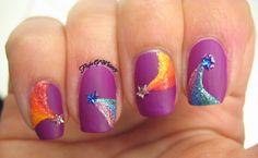 Shooting Stars - purple nail design