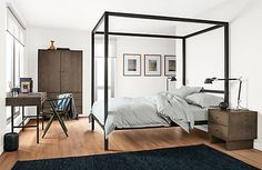 Strength and scale combine to create Architecture—a modern bed with a dramatic presence. Handmade from sturdy natural steel, it's a structure that will stand the test of time. Choose the Tall profile for greater clearance between the side rails and the floor.