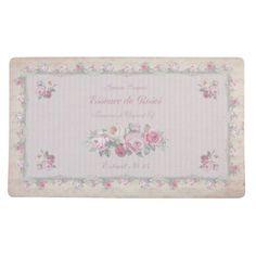 Paillasson tapis de sol d'entree ou tapis de cuisine fleurs essence de roses