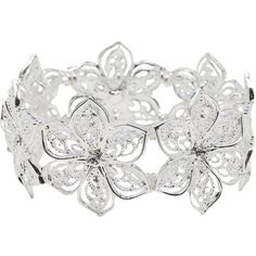 M&Co Plus Filigree Flower Diamante Bracelet ($9.96) ❤ liked on Polyvore featuring jewelry, bracelets, silver, diamante jewelry, flower bangle, flower jewelry, silver jewellery and blossom jewelry