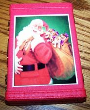 """Vinyl Santa with Jack Russell Terrier Pups Gift Card Case - Cute little """"suitcase"""" is perfect size to hold a Christmas gift card.  Col. Potter Cairn Rescue Ebay auction ends Sun 7/28/13.  All proceeds benefit cairns in need."""