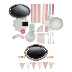 Tea party themed party package includes items such as silver tea trays, organza bags, cupcake wrappers, pom poms, and white doilies! Party package is set for 20 guests. Only $159.99 with FREE SHIPPING. Other themes and more tea party theme ideas on our website. yellowpinwheels.com