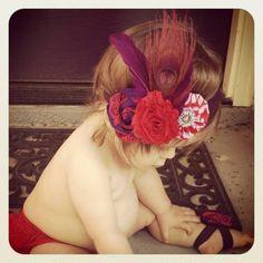 Baby Girl Headband Infant girl Headband Peacock by rockabutt, $22.00