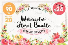 Watercolor Floral Bundle 90% OFF by Spasibenko Art on @creativemarket