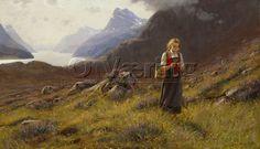 Strikkende seterjente / Knitting dairymaid - Dahl, Hans - O. Væring