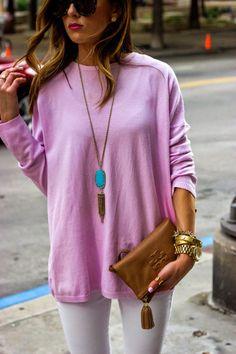 lavender, white, turquoise.