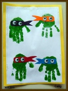 Kids Crafts, Summer Crafts For Kids, Diy For Kids, Arts And Crafts, Ninja Turtle Crafts, Turtle Birthday, Baby Footprints, Handprint Art, Fathers Day Crafts