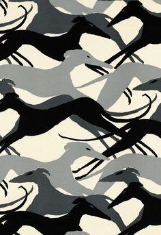 Diamond greyhound dogs fabric
