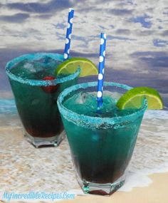 – My Incredible Recipes Refreshing Drinks, Summer Drinks, Cocktail Drinks, Fun Drinks, Cocktails, Beverages, Alcoholic Drinks, Cocktail Recipes, Shark Bite Drink Recipe