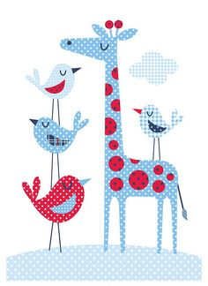 Giraffe and birds. Bubble Gum Years - ETSY