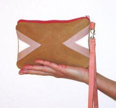 Geometric Leather Wristlet Triangle Clutch Brown Reptile    gmaloudesigns - Bags & Purses on ArtFire