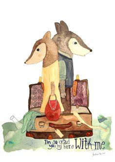 Aquarell - Kunstdruck *Liebe* mit Wölfen - ein Designerstück von Frau-Ottilie bei DaWanda