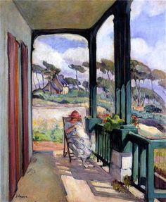 Henri Lebasque -- Sewing on the terrace at Morgat. The village of Morgat (mɔʁgat) is located in the town of Crozon in Brittany in France.