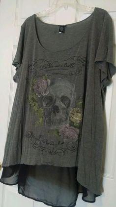 Torrid Women's Plus Size 3 3X Skull Hi Low Shirt Tunic Punk Rock FREE SHIPPING  #Torrid #Tunic