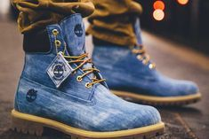 Jimmy Jazz & 21 Savage Collaborate On Timberland Denim Boot Timberland Outfits, Denim Timberland Boots, Timberland Stiefel Outfit, Timberland Waterproof Boots, Denim Boots, Timberlands Shoes, Leather Boots, Denim Jeans, Timbaland Boots