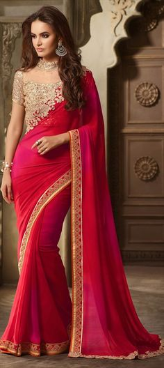709849 Pink and Majenta color family Embroidered Sarees, Party Wear Sarees in Faux Georgette fabric with Lace, Sequence work with matching unstitched blouse. Fancy Sarees, Party Wear Sarees, Georgette Saree Party Wear, Saree Designs Party Wear, Sari Hindu, Indian Dresses, Indian Outfits, Moda Indiana, Indische Sarees